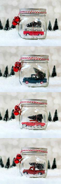 Mason Jar Snow Globes: Vintage Cars & Trucks in Mason Jars