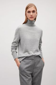 60ebb0aeb6 COS image 7 of Roll-neck merino jumper in Light Grey High Neck Jumper