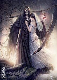 Ok - so cut out the skeleton from this pic with his handy blade and we're left with a beautiful dark bride :) ....Billeee Eboneee