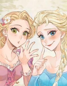 Rapunzel & Elsa by Ano