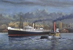 """""""Evening departure, 1935"""" - Original oil painting by Alaskan artist, John Hume showing the USS Anchorage."""