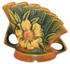 Roseville Pottery Peony Tan Flower Frog 47