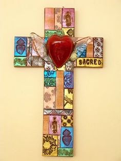 Mosaic Cross with Glass Heart - natalie baca