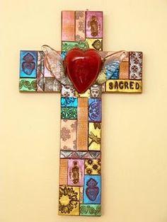 Mosaic Cross with Glass Heart - natalie baca