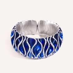Blue Velvet titanium and diamond bracelet