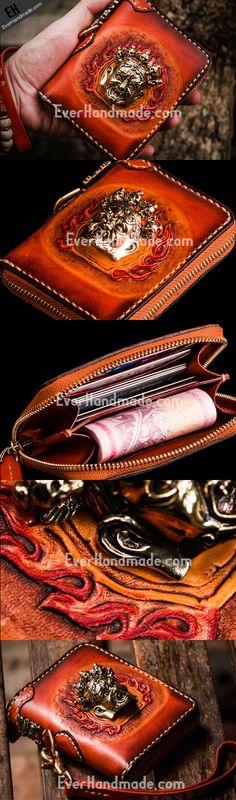 Handmade leather God Mahakala short biker wallet clutch zip wallet
