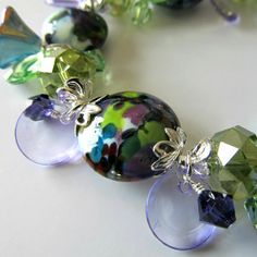 Lampwork beaded bracelet Purple Green Lavender Silver bracelet Crystal bracelet Vintage lucite Beaded jewelry by pacificjewelrydesign