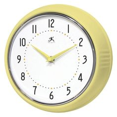 Infinity Instruments Solid Ironwall Clock - Yellow