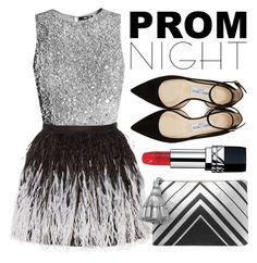 """Prom Night: Black and Silver"" by minchu ❤ liked on Polyvore featuring Alice + Olivia, Anya Hindmarch, Jimmy Choo and Christian Dior"