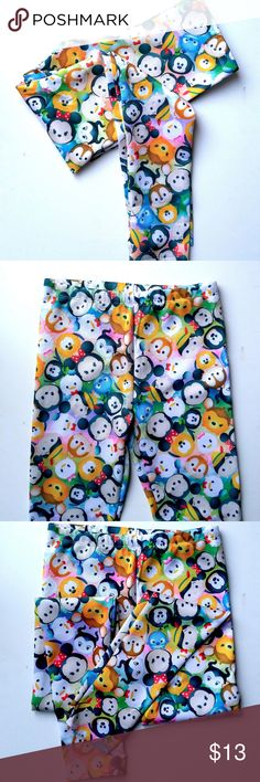 NEW Disney Tsum Tsum Print Leggings Girls XL NEW WITH TAGS DISNEY TSUM TSUM LEGGINGS GIRLS XL      Cute Disney leggings with all over Tsum Tsum print.     Characters include Mickey, Minnie, Chip and Dale, Donald and Daisy, Pinocchio, Stitch and more.     Authentic Disney Merchandise Disney Bottoms Leggings