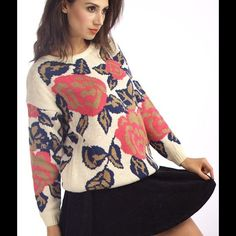 Flower printed sweater NOT URBAN OUTFITTERS. Cute flower printed sweater! Worn once. Urban Outfitters Sweaters