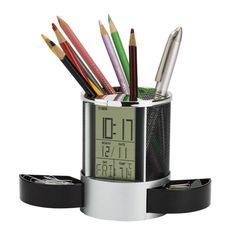 The Clock Organiser with Pen Cup features a jumbo LCD display with a music alarm and day/date calendar. Other features include a thermometer with a black metal mesh pen cup and 2 spring loaded hide away storage drawers. Pencil Holder, Pen Holders, Space Saving Desk, Countdown Clock, Promo Gifts, Employee Gifts, Metal Mesh, Desk Organization, Products
