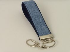 Key Fob made with Cotton Webbing and Upcycled Denim (6.50 USD) by dragonflyquiltworks