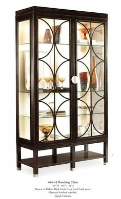McKenzie Galleries & Commercial - Casegoods - Art Deco walnut display cabinet with glass shelves and lights - Designer chosen high end quality furniture in Houston Texas(TX) Art Deco Furniture, Steel Furniture, Cabinet Furniture, Painted Furniture, Furniture Design, Nice Furniture, Bathroom Furniture, Art Deco Decor, Art Deco Home