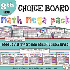 8th grade math choice boards for all year long.  meets all 8th grade standards.  Great for giving students choice.  Project based learning that is differentiated.