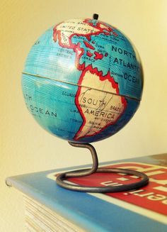 Rare 1930s Vintage Miniature Tin Globe on Etsy, Sold