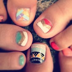 These options are all nice, and the glittery ones are especially suited to at-home pedicures. | Toenail Art Is The New NailArt