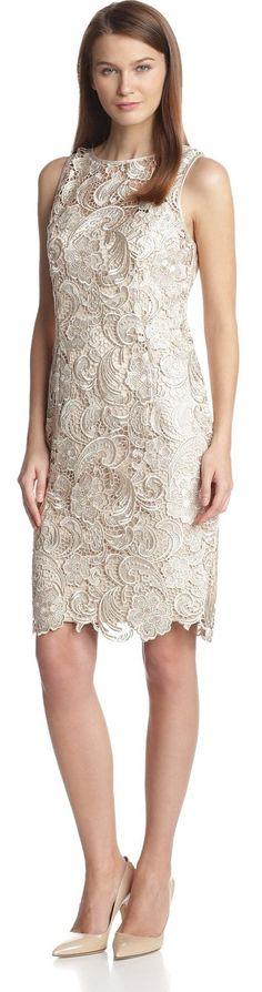 Adrianna Papell Women's Sleeveless Illusion-Neck Lace Dress.