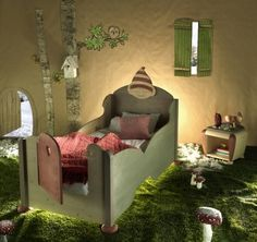 lovely bed! I think that I'd do it without the elf on top. But isn't the door on the end, the sweetest touch!