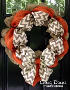 Chevron Burlap Wreath for front door or decor - Orange, White, Gray - Fall, Halloween, Thanksgiving, UT Vols by SimplyBlessedGift