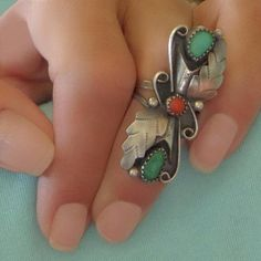 #YearsAfter OLD PAWN Long Native American Indian RING Turquoise Coral Vintage Navajo Jewelry Sterling Silver Stampings Feather, Size 6 1/2, Gift for Her #nativeamericanjewelry #nativeamericanring #longring #navajoring #turquoisering