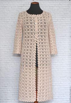 Buy or order Summer lace coat Co . - All Photos Gilet Crochet, Crochet Coat, Crochet Jacket, Crochet Cardigan, Crochet Clothes, Crochet Patron, Coat Patterns, Jacket Pattern, Short Sleeve Dresses