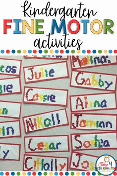 On the first day of kindergarten, you may want to begin with easy activities for students to practice their names. These fine motor activities for students are a great solution, because they can practice their names, while also practicing fine motor skills. It also makes a great back to school bulletin board!