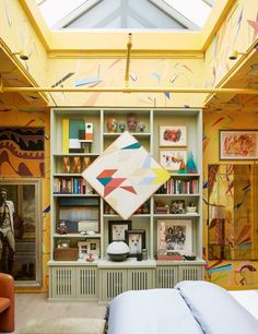 Why Drew McGukin's Colorful Home Differs from Those of His Clients - 1stDibs Introspective Hollywood Glamour, Bookshelf Plans, Simple Bookshelf, Soho House, Modern Dresser, Art Deco Furniture, Vintage Lamps, Design Firms, Built Ins