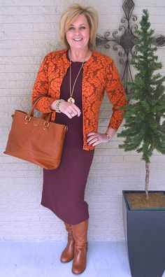 50 IS NOT OLD | ORANGE AND MAROON | Office appropriate | Skirt | Church Outfit | Virginia Tech Colors | Fashion over 40 for the everyday woman