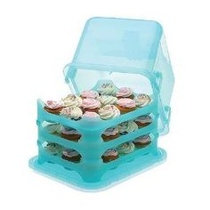 Cupcake Courier 36-Cupcake Plastic Storage Container, Soft Blue Sky