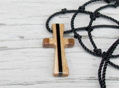Wooden Cross Pendant  Walnut, Maple & Ebony  Gifts for guys by TheLotusShop, $16.95