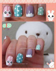 Easter Cute Bunny and Eggs Nail Art Tutorial: Spring Nail Art, Spring Nails, Colorful Nail Designs, Nail Art Designs, Fingernail Designs, Cotton Candy Nails, Nail Candy, Bunny Nails, Easter Nail Art