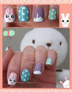 Easter Cute Bunny and Eggs Nail Art