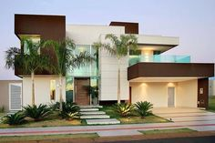 Exterior De Casas Contemporaneas Ideas For 2019 Dream House Exterior, Dream House Plans, Modern House Plans, Modern House Design, Modern Exterior, Exterior Design, Architecture Design, Modern Mansion, Home Design Decor