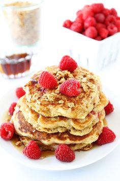 Raspberry Coconut Granola Pancake Recipe on twopeasandtheirpod.com LOVE these pancakes!
