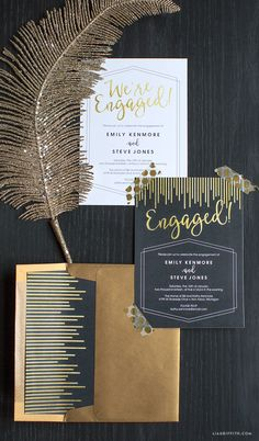 Printable Engagement Party Invites from Lia Griffith (requires paid membership to download)