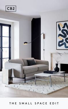Major design in minimal square footage. Cozy Living Rooms, Living Room Interior, Home Living Room, Apartment Living, Home Interior Design, Living Room Designs, Living Room Decor, Bedroom Decor, Furniture For Small Spaces