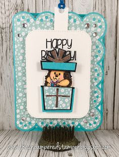 The Unpampered Stamper: Interactive/Surprise Slider Card Creative Birthday Cards, Cute Birthday Cards, Handmade Birthday Cards, Handmade Greeting Card Designs, Handmade Greetings, Handmade Cards, Fancy Fold Cards, Folded Cards, Spinner Card