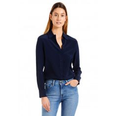 A slim figure flattering silhouette, that looks lovely dressed up or down, True to size, Model is wearing a size small Silk Crepe, Sheer Fabrics, New Wardrobe, Lovely Dresses, High Jeans, Navy Tops, Silk Top, Skinny Fit, Workout Shirts