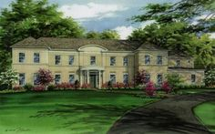 Watercolor house portrait of large tan brick residence with curved portico. Created by Custom House Portraits by Richelle Flecke