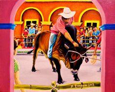 $2800 PESOS MEXICANOS MAS GASTOS DE ENVIO, MAN, BULL, TRADICION, el valiente, tlacotalpan, arte mexico, oil paint, Candelaria, toro, Veracruz by Jorge D. Espinosa