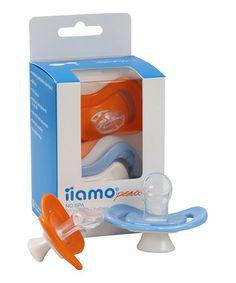 Love this Orange & Blue Newborn Pacifier Set by iiamo on #zulily! #zulilyfinds