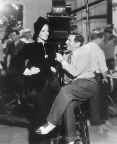 Marlene Dietrich and director Ernst Lubitsch on the set of Angel, 1937