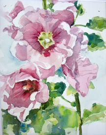 watercolor flowers hollyhock - Google Search