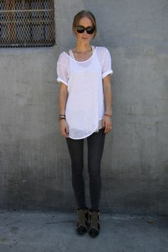 Layered White Singlet/White Sheer Oversized Tshirt/Black Skinny Jeans/Ankle Boots