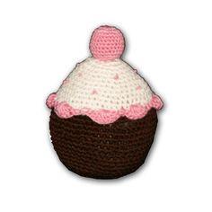 Hip Doggie Organic Cotton Crochet Cupcake Dog Toy - Pink | PupLife Dog Supplies