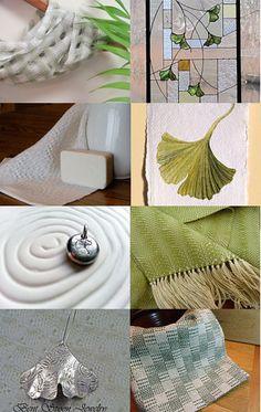 Ginkgo Love by Cindie w/my Sage Mint Green Lattice Scarf #aclhandweaver #handweaversofetsy