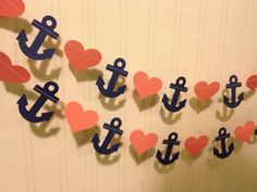 Navy blue and Coral Anchors and Hearts Paper Garland