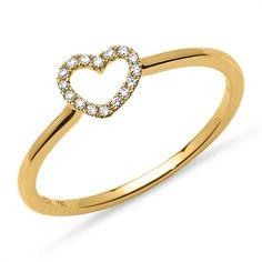 Diamantring Herz 0,07 ct 750er Gelbgold DR0076 http://www.thejewellershop.com/ #diamantring #diamonds #ring #diamant #herz #heart #gold #gelbgold #schmuck #jewelry #ringe