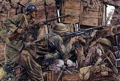 1918 Americanos con fusil ametrallador Chauchat